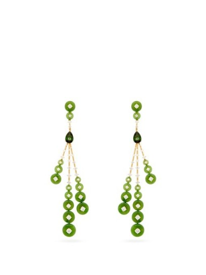Green drop earrings | FERNANDO JORGE Rocket diamond, jade & 18kt gold earrings