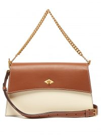 MÉTIER Roma small ivory and tan leather shoulder bag