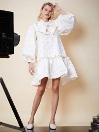 sister jane Leading Lady Oversized Mini Dress in Cream | dresses with puff sleeves and volume