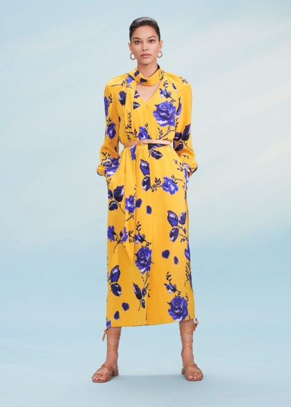 Hobbs ROSALIND DRESS in Yellow Blue