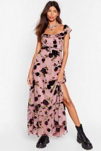Floral Dress – NASTY GAL Rose and Conquer Devoré Maxi Dress in Pink