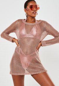Missguided rose gold metallic crew neck crochet beach mini dress