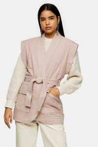 TOPSHOP Rose Pink Sleeveless Tie Jacket