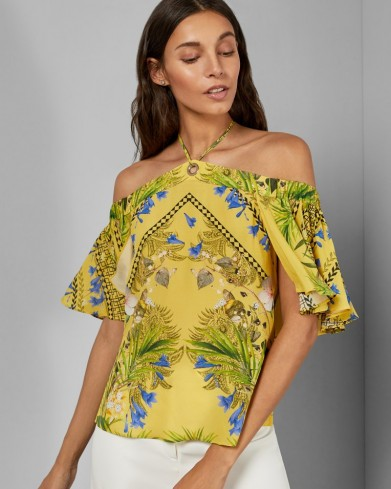 Ted Baker WYONNA Royal Palm tie detail top ~ off shoulder tops