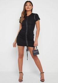 Manière De Voir RUCHED T-SHIRT DRESS BLACK