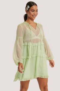 NA-KD Ruffle Chiffon Dress Green – boho dresses