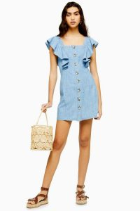 Topshop Ruffle Sleeve Horn Button Mini Dress in mid stone