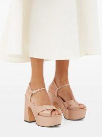 ROCHAS Pink satin platform sandals ~ beautiful retro footwear