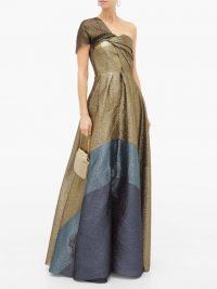 ROLAND MOURET Savannah draped lamé-cloqué gown in gold