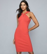 REISS SAWYER TWIST-NECK BODYCON DRESS RED ~ LRD