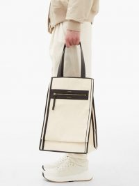 LUTZ MORRIS Saylor leather-trimmed white canvas tote bag / men's recycled cotton canvas bags