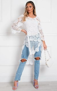 ikrush Selena Crochet Beach Cover Top in White – sheer summer tops