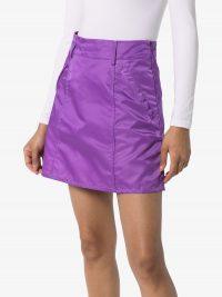 SELF CINEMA A-line mini skirt | purple nylon skirts