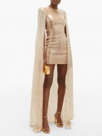 DAVID KOMA Sequinned caped mini dress in beige gold ~ high-octane event wear ~ glamour