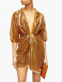 FENDI Sequinned plunge-neck mini dress in brown ~ event glamour