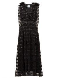 HALPERN Black sequin-striped cape-back tulle midi dress ~ lbd