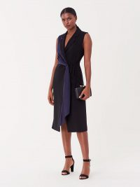 Diane von Furstenberg Shelly Crepe Wrap Dress in Black/Navy / DVF event wear