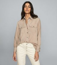 REISS SIA SUEDE SHIRT SOFT PINK ~ casual luxe shirts
