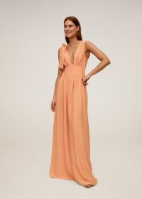 Mango Side bow dress salmon REF. 67016725-YVONNE-I-LM / plunge front maxi dresses