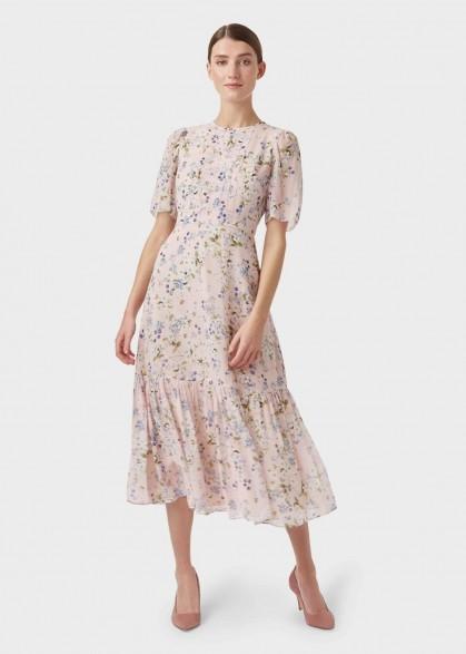 Hobbs SILK BLOSSOM DRESS in Blossom Pink / frill hem dresses