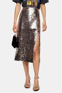 Topshop Silver Leopard Print Sequin Pencil Skirt | metallic skirts