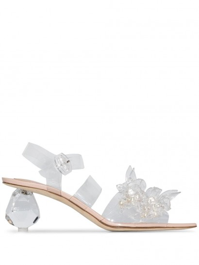 SIMONE ROCHA bead and pearl-embellished 70mm sandals / transparent sandal