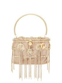 ROSANTICA Sirena crystal-embellished cage clutch bag in gold – sea inspired embellishments