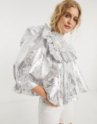 Sister Jane blouse with ruffle bib and balloon sleeves in metallic-silver jacquard