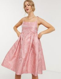 Sister Jane mini prom dress with tie straps in rose jacquard | voluminous pink dresses