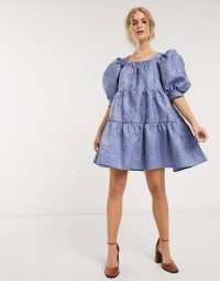 Sister Jane rose jacquard mini smock dress with tiered skirt and puff sleeves in blue