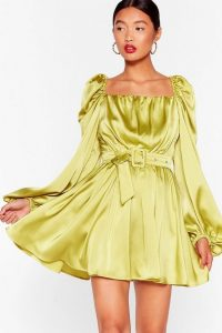 NASTY GAL Sleeve Me Out of It Satin Belted Dress in Lime