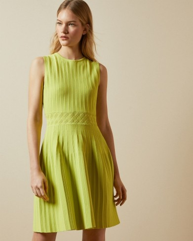 TED BAKER BALIEEY Sleeveless knitted skater dress in lime