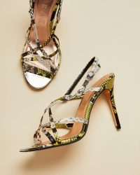 Ted Baker THEANAA Snakeskin leather strappy sandals bright yellow