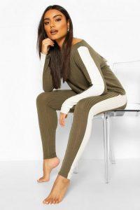 boohoo Soft Rib Side Stipe Legging Lounge Set in Khaki – loungewear sets