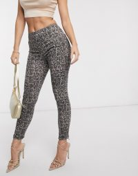 Spanx Slim Built In contoured Power Waistband jegging in snake print in grey smoke