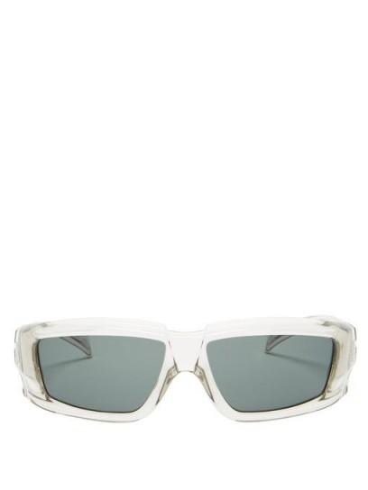 RICK OWENS Square cacetate sunglasses / translucent frames