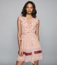REISS STEPHANIE PRINTED MINI DRESS PINK ~ feminine & floaty clothing