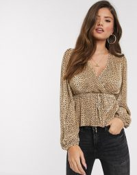 Stradivarius plisse top with spots in beige