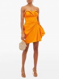 CAROLINA HERRERA Strapless ruched silk-faille mini dress in orange ~ party glamour