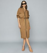 REISS SYLVIE UTILITY SHIRT DRESS MID BROWN ~ effortless style clothing