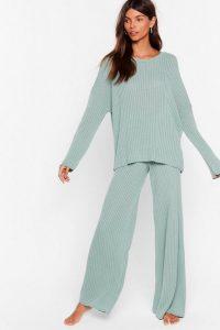 NASTY GAL Take Knit Off Jumper & Trousers Lounge Set in Sage – loungewear
