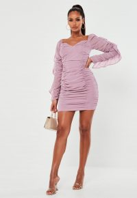 Missguided tall mauve chiffon bardot mini dress – ruched party dresses