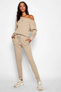 boohoo Tall Slash Neck Knitted Lounge Set in Stone
