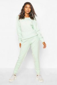 boohoo Tall Slash Neck Knitted Lounge Set Mint