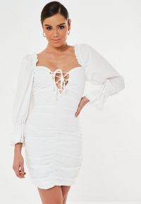 Missguided tall white poplin lace up puff sleeve mini dress