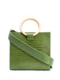 TARA ZADEH Roya mini tote bag in green-leather / chic croc embossed bags