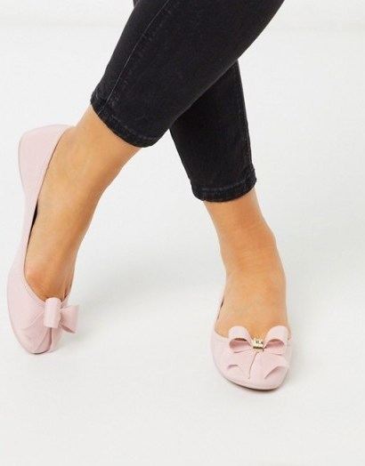 Ted Baker suallyz exclusive bow ballet pump in pink - flipped