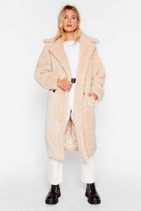 Teddy or Not Faux Shearling Longline Coat Beige