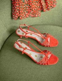 Boden Tessa Kitten Heel Slingbacks – Orange Sunset ~ bright strappy summer sandals