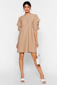 NASTY GAL Texture From You Ex Puff Sleeve Mini Dress in Camel